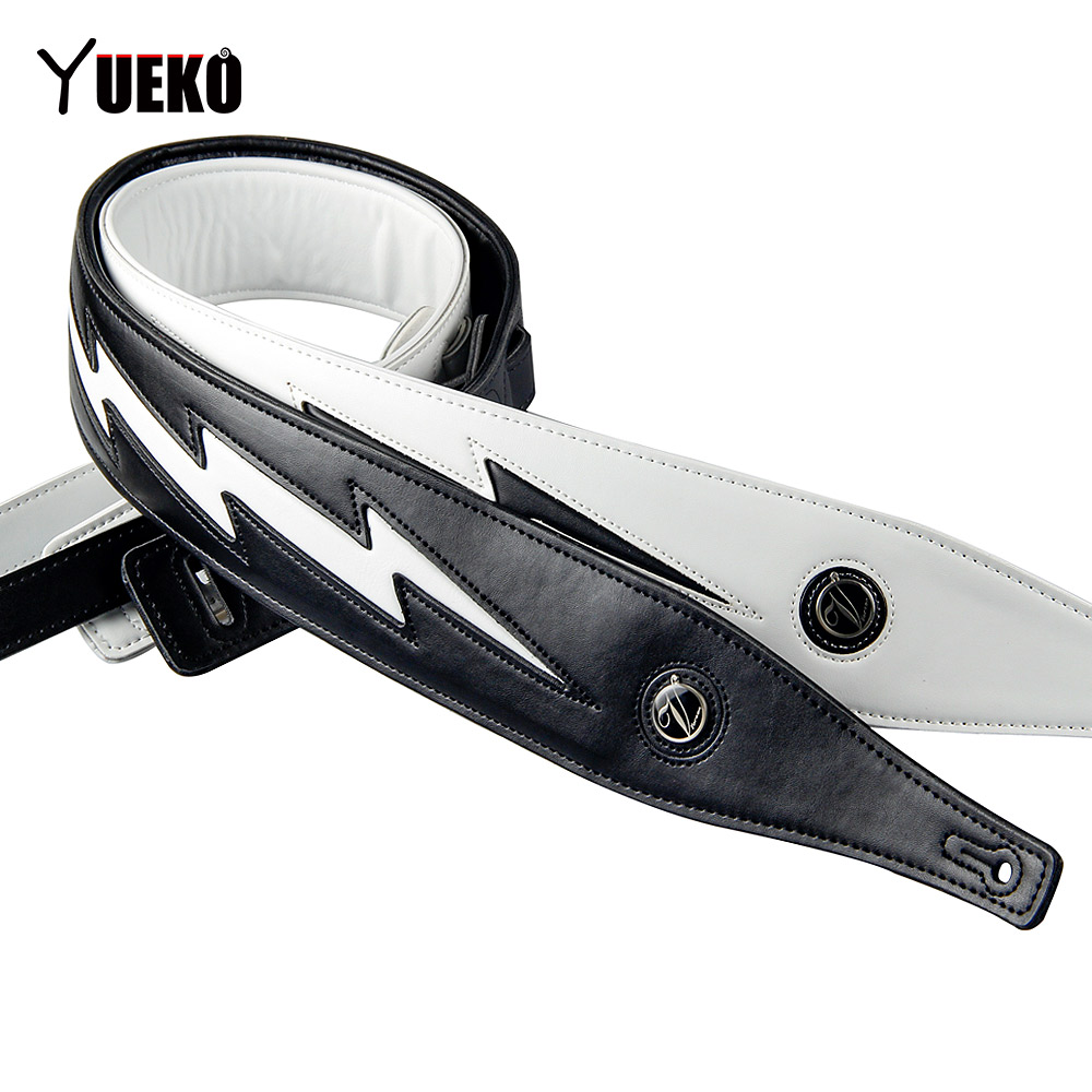 YUEKO Black White High Quality Leather Guitar Strap Unique Lightning Comfortable Acoustic Electric Bass Strap Guitar Accessories