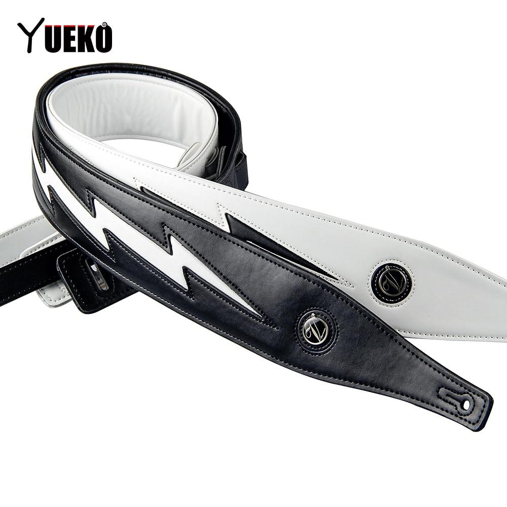 yueko black white high quality leather guitar strap unique lightning comfortable acoustic. Black Bedroom Furniture Sets. Home Design Ideas