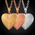 U7 dia dos namorados presente mulheres colar banhado a ouro do amor do coração colares & pingentes medalhão foto memória p570