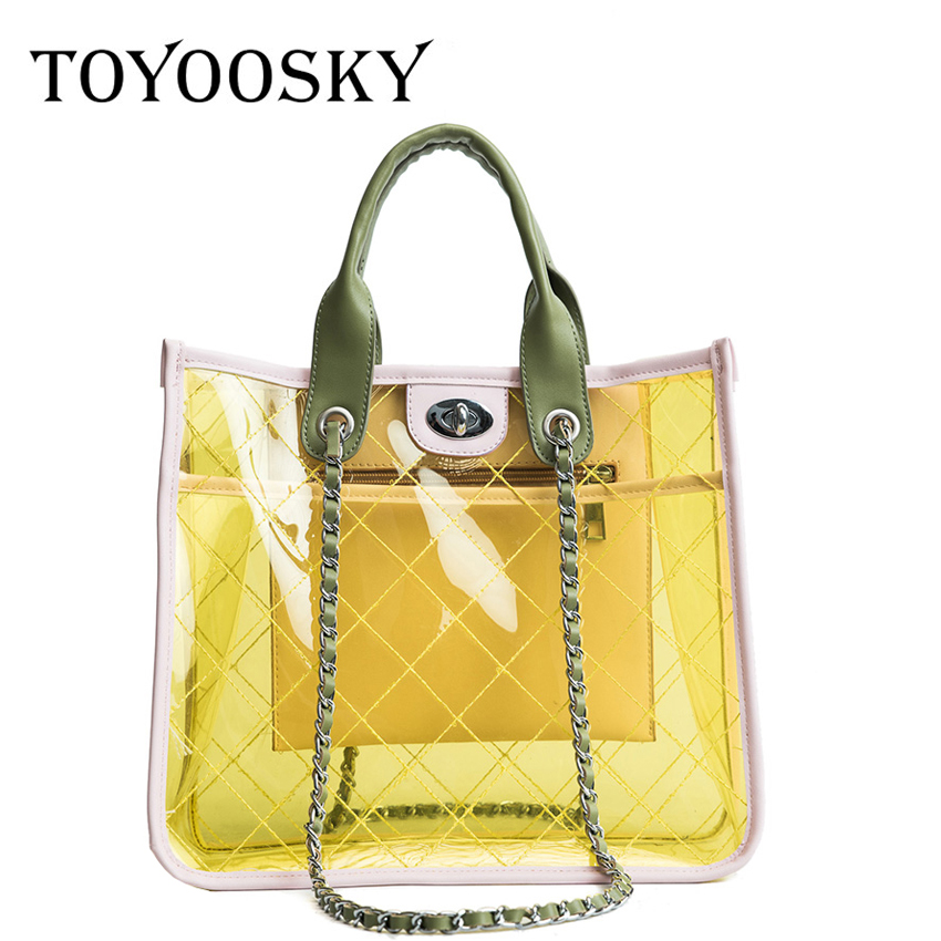 TOYOOSKY Women Summer Beach Bag PVC Clear Transparent Tote Bag Hologram Handbags Women Famous Brand Quilted Women Shoulder Bags toyoosky women summer crossbody bag pvc transparent composite bags set with purse waterproof quilted plaid beach handbags female