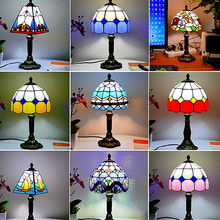 Mediterranean Style Restaurant Bar Cafe LED Vintage Desk Lamp Bedside Colorful Glass Table Lamps Nightstand Light Bedroom Lamp three bulbs wooden base decoration water pipe desk lamp used for restaurant cafe bar bedroom