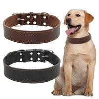 """Echt Leer Hond Huisdier Kraag voor Middelgrote En Grote Honden Pitbull Duitse Herder Hals Voor 15 25 """"Zwart bruin Kleuren-in Kragen van Huis & Tuin op"""