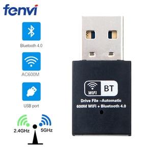 Image 1 - 600 300mbps のデュアルバンドミニ無線 LAN Usb 無線 Lan アダプタ RTL8821CU ワイヤレス Wi Fi 、ブルートゥース 4.0 ネットワークカード LAN ワイヤレスドングルウィンドウズ 7/8/10
