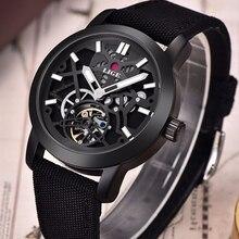 LIGE Brand Men's watches Automatic Mechanical Watch Men sport Military Wrist watches Man Nylon Leather strap Black Clock Relojes