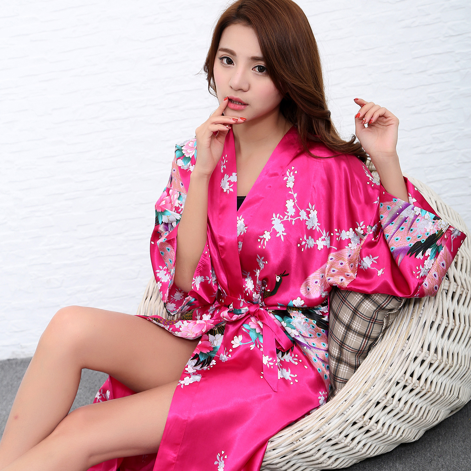 New Sleepwear Sexy Nightgown Rayon Nightwear Print Peacock Robe Gown Womens Kimono Bathr ...