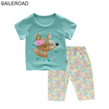 e2e5bc8e8de25 SAILEROAD bébé filles d'été Pyjamas ensembles enfants dessin animé mignon  renard imprimé Pyjamas infantile