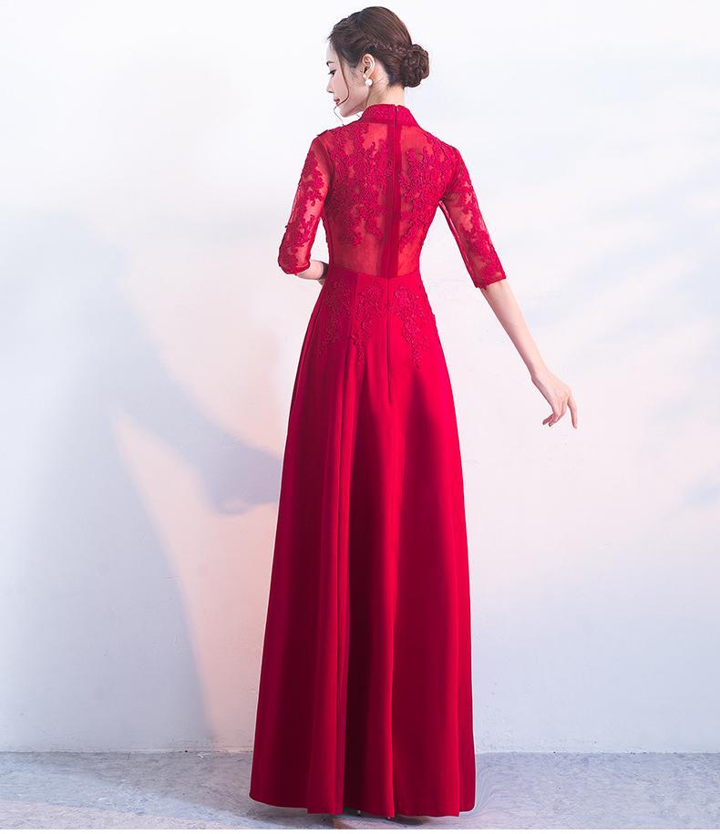 xxl E Sottile Red Autunno Nuovo 2018 Ed Rosso Abito Pavimento Elegante Ricamo lunghezza Primavera Xs 15wU6O