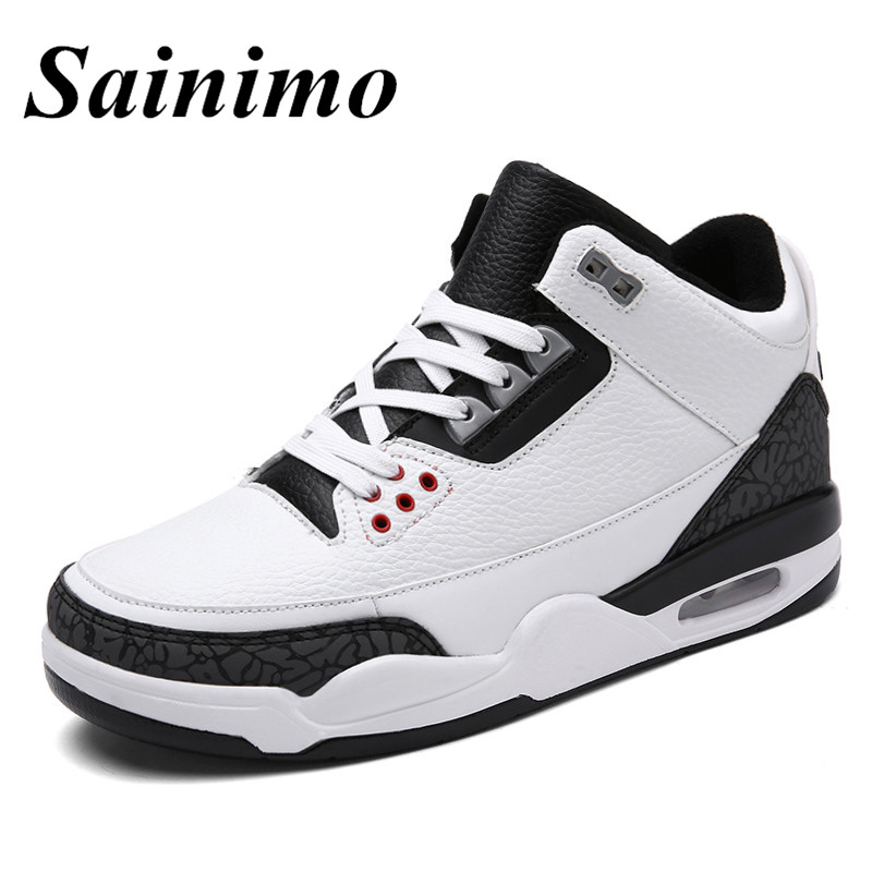 Brand Men Basketball Shoes High top Sports Air Cushion Athletic Men Shoes Comfortable Breathable Sneakers Men large size 47-in Basketball Shoes from Sports & Entertainment    1