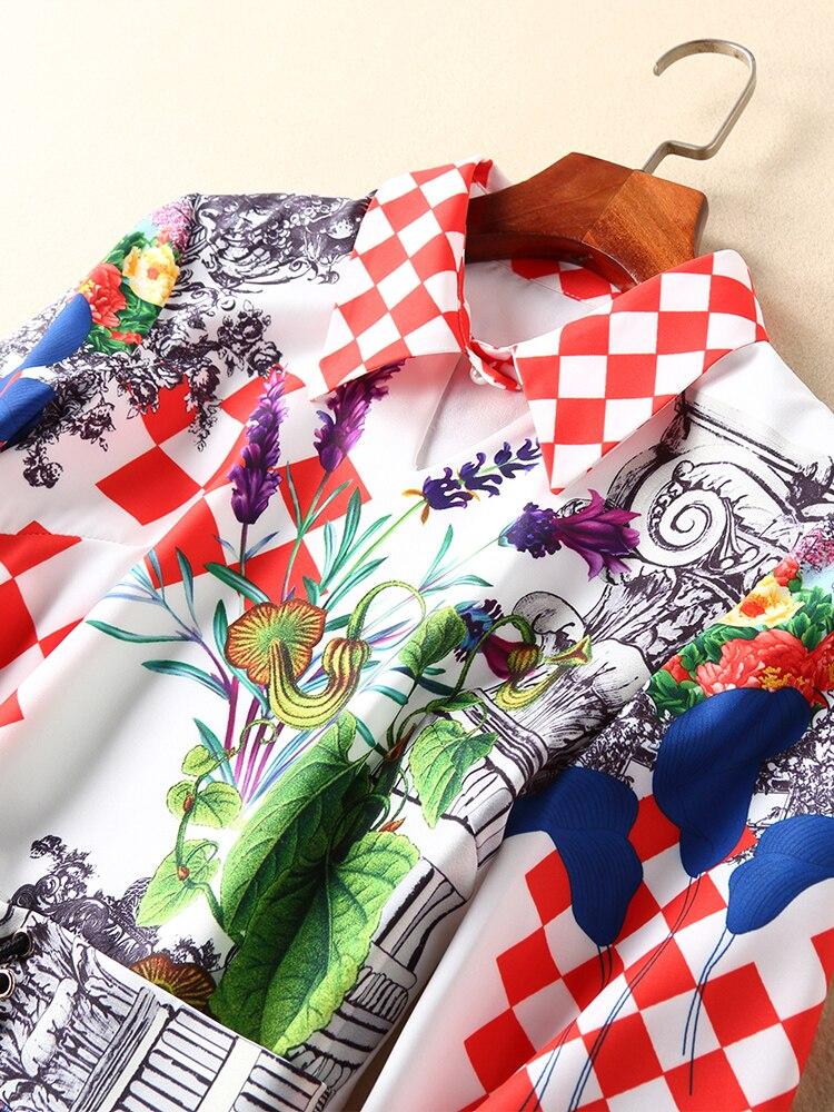 2019 Trompette Et Vintage sirène D'été Multi Nouvelles down Ziwwshaoyu Printemps Ceintures Femmes Col Robes D'impression Turn Robe Élégant EPqt5OAnWf