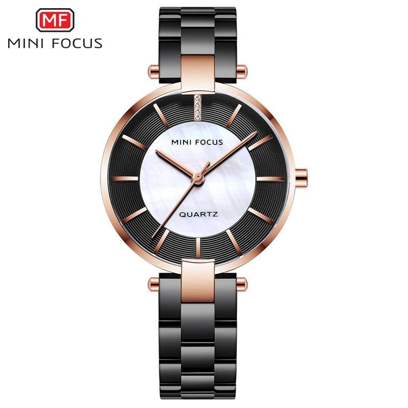 MINI FOKUS Schwarz Edelstahl Armband Uhren für Frauen Mode Luxus Kleid Armbanduhr für Dame Frau Relogios MFW0224