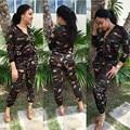 Las mujeres de Dos Piezas Trajes 2016 Otoño Moda Casual Chándales Del Ejército verde Escudo Manga Larga Con Cremallera Y Pantalones Largos Delgados Conjuntos HMZ
