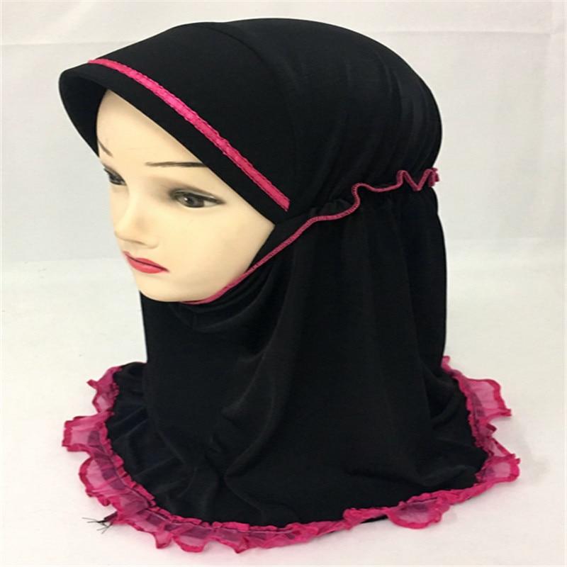 12PCS 2017 New Child Girls Kids Muslim Beautiful font b Hijab b font Islamic Arab Scarf