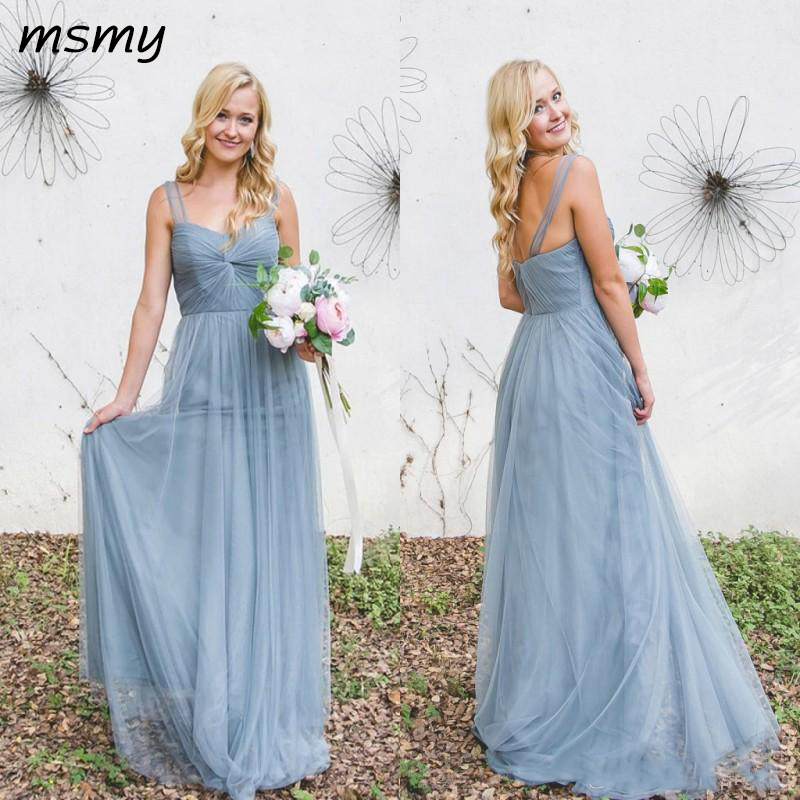 Cheap A Line   Bridesmaid     Dresses   For Summer Garden Beach Weddings Sheer Straps Backless Pleats Long Maid of Honor Gowns Plus