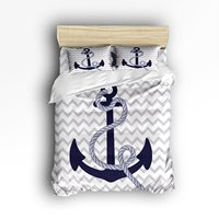 Bedding Set Navy Nautical Anchor with Grey White Zig Zag Chevron Pattern Duvet Cover Set Bedspread for Teens/Adults, 4 Piece