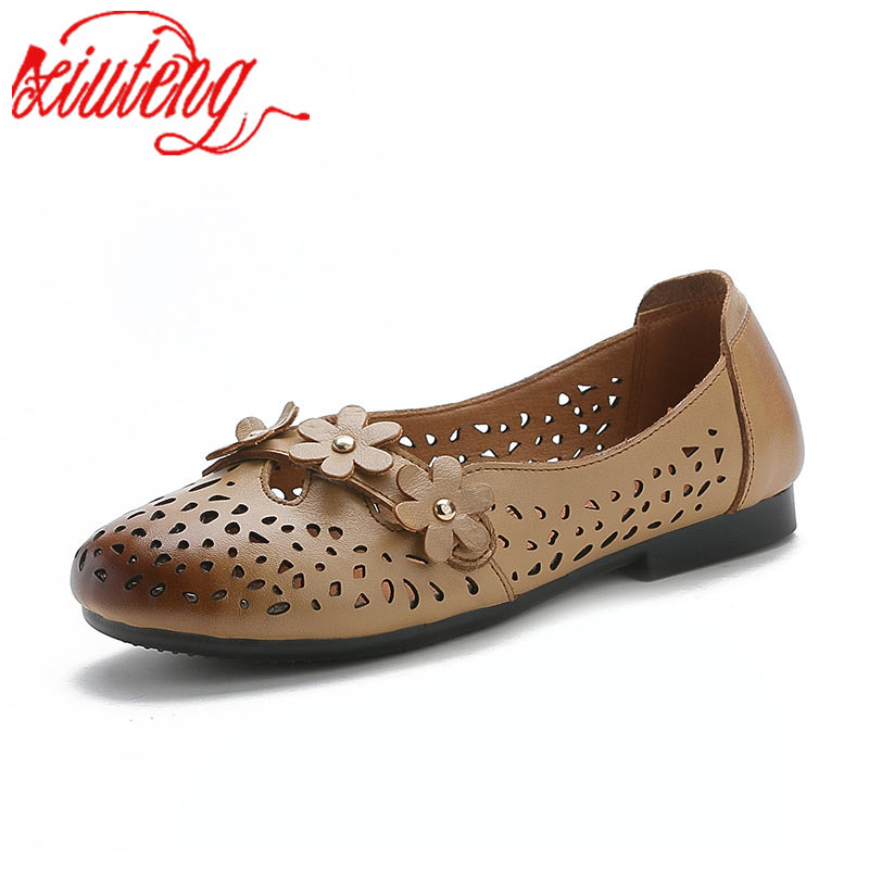 Xiuteng Handmade Shoes Fashion Genuine Leather Flat Lacing Mother Shoes Woman Loafers Soft Comfortable Casual Shoes Women FlatsXiuteng Handmade Shoes Fashion Genuine Leather Flat Lacing Mother Shoes Woman Loafers Soft Comfortable Casual Shoes Women Flats