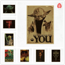 42x30cm Vintage Movie Star Wars Master Yoda Darth Maul Poster Cafe Bar Home Decor Painting Retro Kraft Paper Wall Sticker Gift(China)