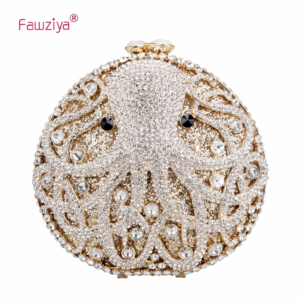 Fawziya Octopus Evening Clutch Purses For Women Rhinestone Crystal Clutch Bag цены