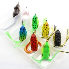 8pcs 8colors Topwater Frog and Mouse Hollow Body Soft Fishing Lures Bass Hooks Baits Tackle Set and Tackle Box Free shipping