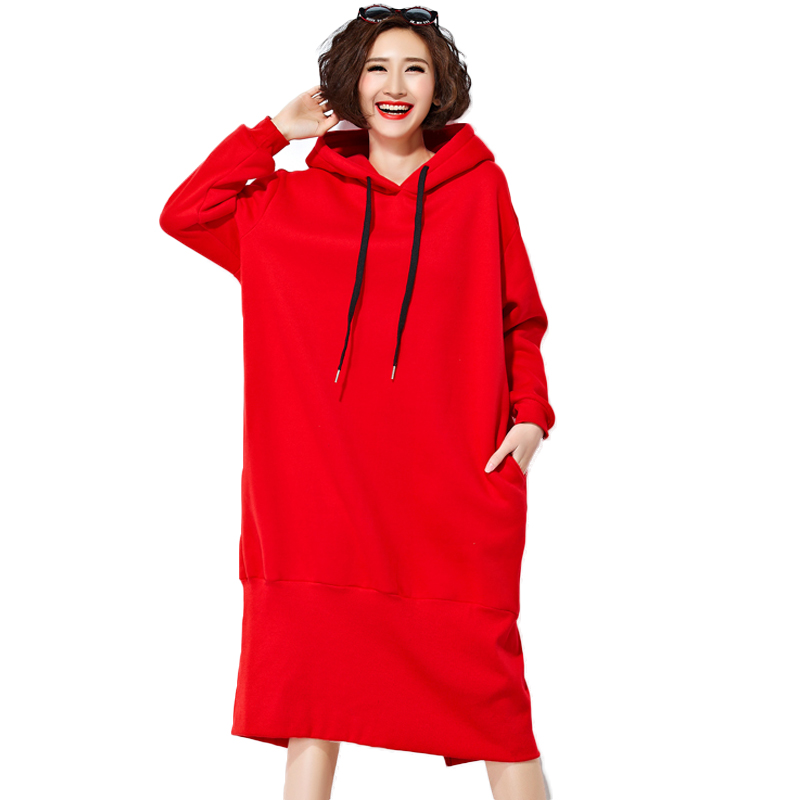 US $27.37 26% OFF|plus size dresses for women Fashion Long Sleeve Red Black  Hooded Sweatshirt Tops Ladies Female Big Warm Thick Fleece Dress-in ...
