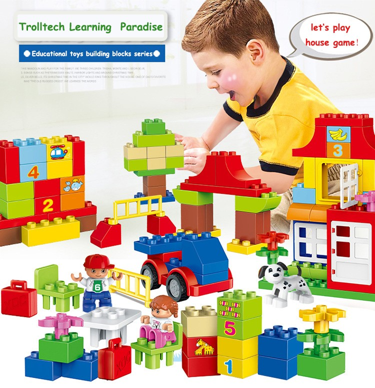 115pcs Quality Big Building Blocks Self-locking Bricks Educational Toys Baby Toy kids Child Gift Compatible with Legoed Duploe 120pcs new building blocks self locking bricks after completion of transformation can change shape compatible legoinglys toys