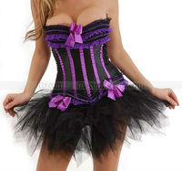 Black + Purple Overbust Trimmed Corset Top With Padded Cup Lace Up Bustier + Black TuTu Skirt S M L XL 2XL