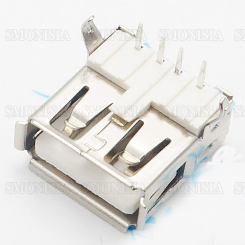 AF USB Female Socket 90-degree Charging Power Socket USB Connector 50pcs rj11 socket telephone 90 degrees 6pin crystal female 95001 6p6c socket