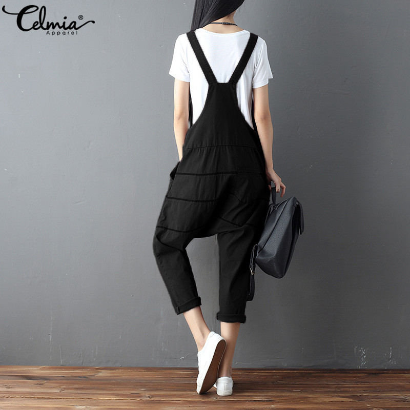 2b97161e63a 2018 Celmia Women Retro Cotton Romper Sleeveless Strap Dungarees Pockets  Plus Size Overalls Casual Loose Jumpsuits Harem Pants-in Jumpsuits from  Women s ...