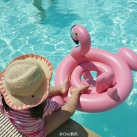 Baby Inflatable Flamingo Pool Float Pink Ride-On Swimming Ring White Swan Floating Water Holiday Party Toys For babies Piscina 2