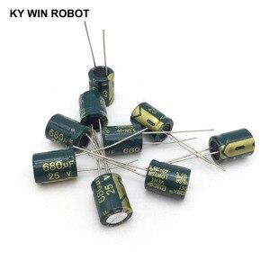 Image 5 - 10 قطع الألومنيوم مُكثَّف كهربائيًا 680 فائق التوهج 25 فولت 10*13mm frekuensi tinggi شعاعي كهربائيا kapasitor