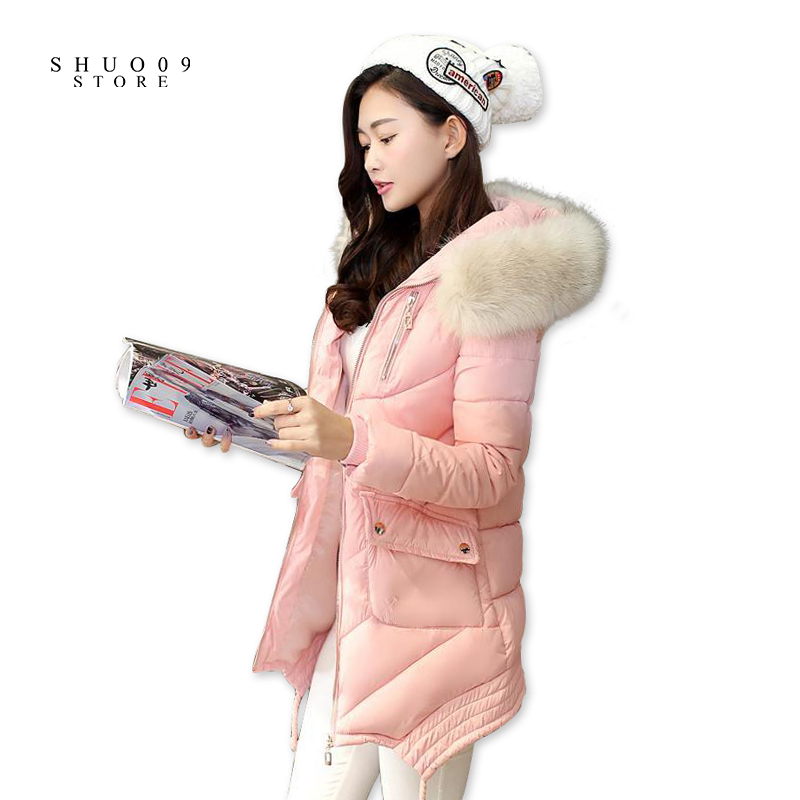 New Winter warm Padded Jacket Women Long Solid Slim Hooded Cotton Coat with Fur Collar Thick Warm Outwear Female Clothe 2017 new women winter coat long quilted jacket thick warm solid color cotton parkas female slim hooded zipper outwear okb88