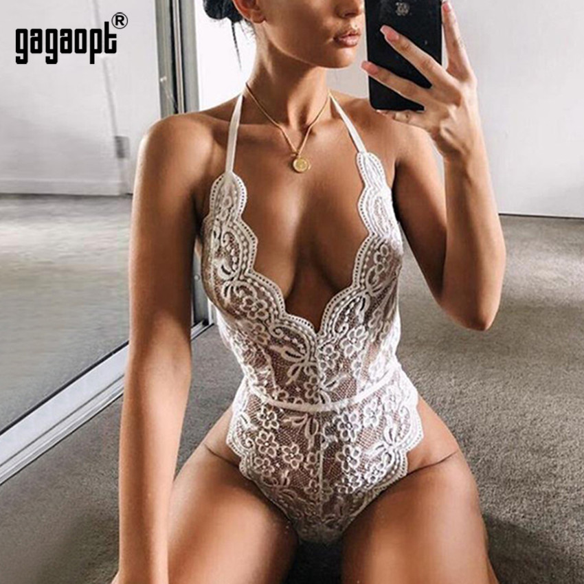 Gagaopt Lace Bodysuit Women Halter Floral Embroidery White Black Bodysuit Backless Sexy Bodysuit Jumpsuit Overalls Sleepwear