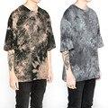 Kanye West Hip hop T-shirt Da Tintura do Laço Da Gota Ombro T Justin Bieber Streetwear camisa de Grandes Dimensões T Homme Crossfit Curto Tops M-XL
