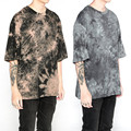 Kanye West Hip hop T-shirt Tie Dye Drop Shoulder Tees Justin Bieber Streetwear Oversized T shirt Homme Crossfit Short Tops M-XL