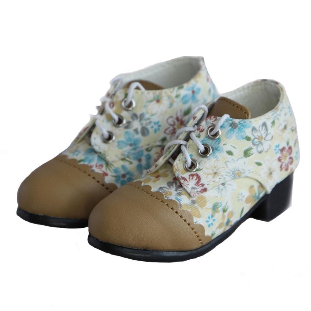[wamami] 48# Brown Flower Shoes For 1/4 MSD DOD BJD Dollfie Medium Heel Shoes forest retro uniform shoes 3colors for bjd 1 4 msd 1 3 sd10 sd13 super dollfie luts dod as dz doll shoes sw5