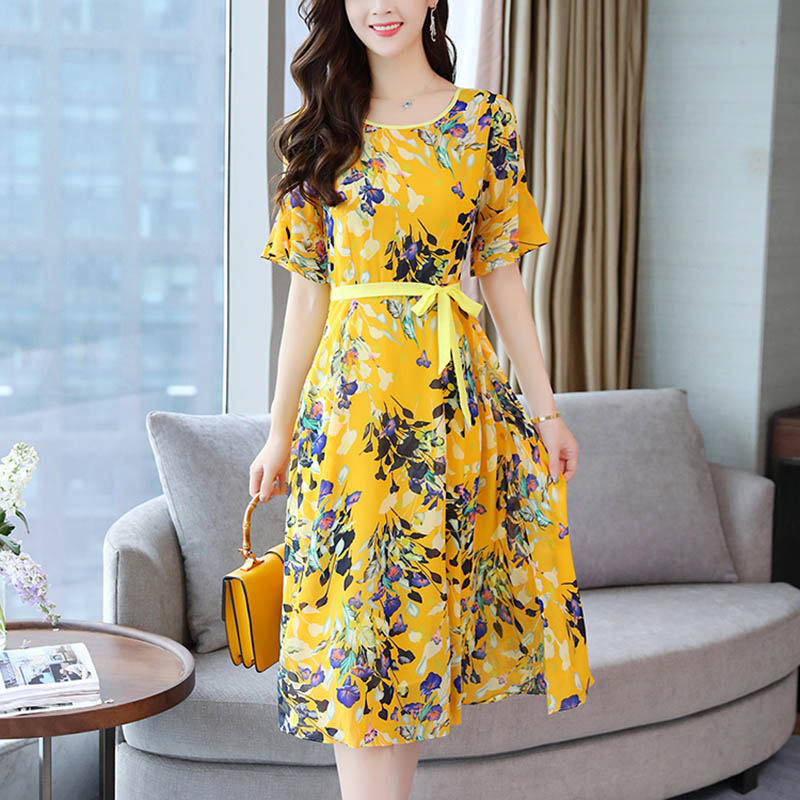 Women Floral Dress Chiffon Bohemian High Waist Slim Fit Casual Dress for Summer QL Sale