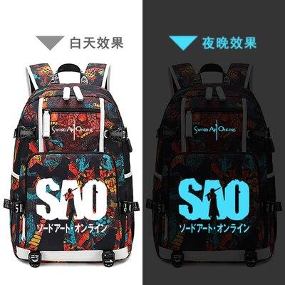 Nouvelle épée Art en ligne cartable pochette d'ordinateur hommes sacs de voyage USB Kirito Yuuki Asuna Oxford sac à dos