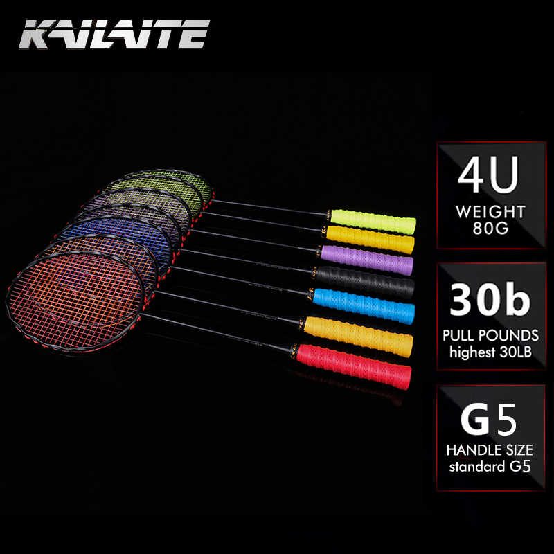 KAILITE 4U 82g G5 Ultra Light Full Carbon Badminton Racquet 20-30LBS free Grips and Wristband Sport Competition Badminton