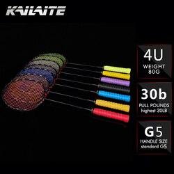 KAILITE 4U 82 グラム G5 超軽量フルカーボンバドミントンラケット 20-30LBS 送料グリップとリストバンド競技バドミントン