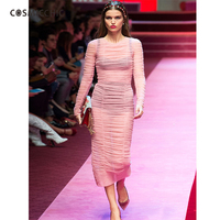 2017 New Dress Slim Lace Sexy Package Hip Fish Tail Skirt Trumpet Sleeve Dress J167