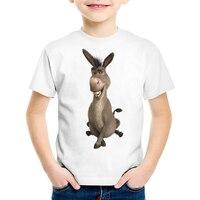 TEEHEART Jungen/mädchen Modalen T-shirt Lustige 3D esel Gedruckt 18 Mt-10 T Sommer Kinder Freizeitkleidung TA382