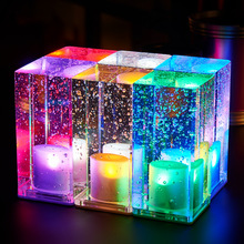 Colorful Crystal Desktop Luminous Decorative Charging Crystal Creative KTV Bar Restaurant  Desk Lamp Souvenir Birthday Present