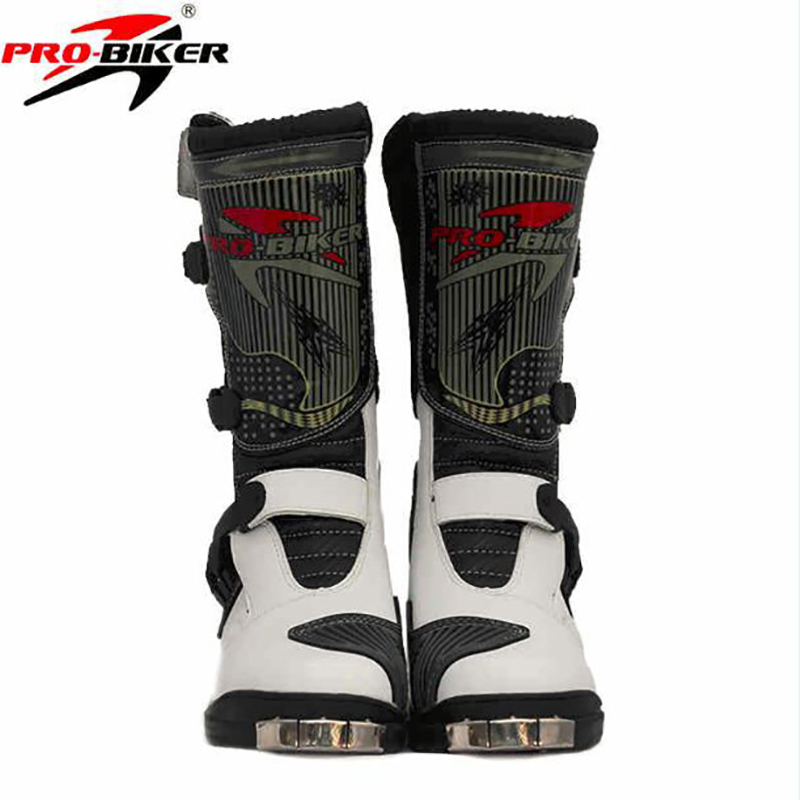 Pro-biker Long Microfiber Leather Motorcycle Boots Motorbike Racing Bike Motocross Riding Boots Shoes pro biker mcs 01a motorcycle racing full finger protective gloves blue black size m pair