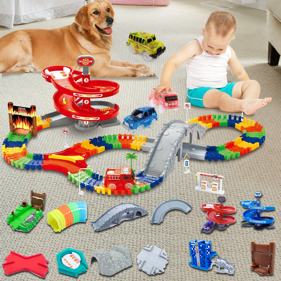 Magical Glowing Flexible Track Accessory Make Your Toy Car More Fun And Creative Bend,Flex And Glow Racetrack Educational Toys