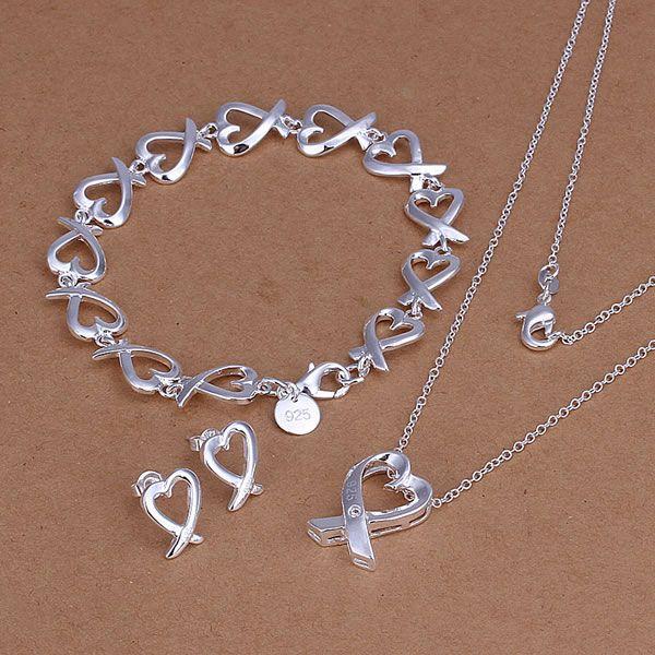 S203 925 Hot Selling silver jewelry set, fashion jewelry set Heart Earrings Bracelet Necklace S203 /amhajdoa axzajpga