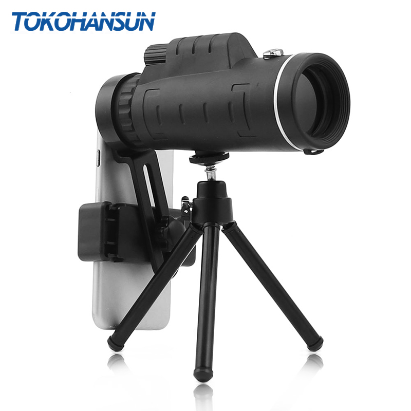 TOKOHANSUN 40x60 zoom telescopio Monocular de ángulo amplio lupa telescopio con lente de teléfono móvil cubierta de polvo brújula para iPhone 8