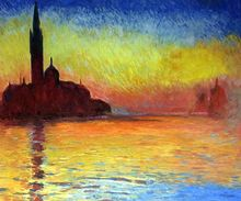 San Giorgio Maggiore by Twilight by Claude Monet Handpainted