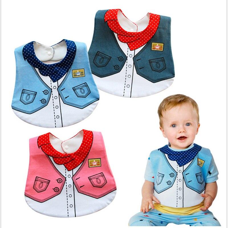 3 Colors Waterproof Bib Cotton Soft Convenient Baby Bibs Funny Design Fashionable Vest Cute Cartoon Design Non-toxic