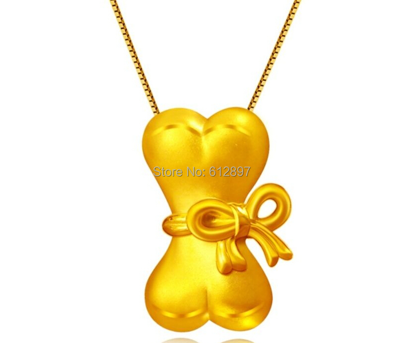 New Arrival Real 24K Yellow Gold Pendant /3D Wedding Heart Bone Pendant New Arrival Real 24K Yellow Gold Pendant /3D Wedding Heart Bone Pendant