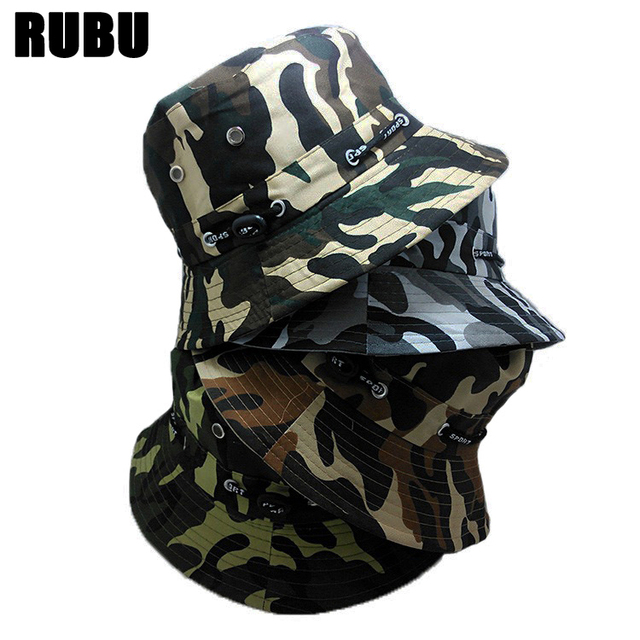 Fashion Camo Bucket Hat Men Military Cap More Color Camo Bucket Hat For Women  Sun Protection Fisherman Hat Summer Sun Caps 06114a3f2