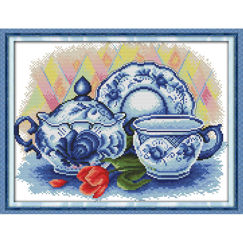 Everlasting love The celadon teapot Chinese cross stitch kits Ecological cotton stamped printed14CT DIY Christmas gifts for home